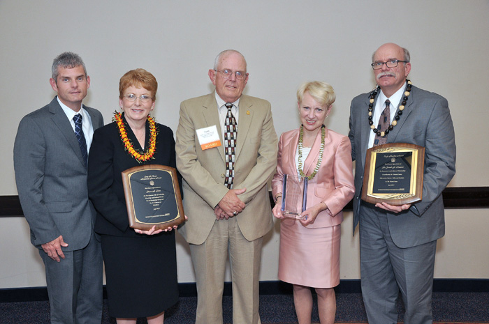 SEARCH's 2012 Annual Meeting was highlighted by the presentation of three annual awards, presented by Chairman Capt. Thomas Turner (center). Joining him (from left) are SEARCH Vice Chairman Brad Truitt, Idaho Member Dawn Peck, Former AAG Laurie Robinson, and Dr. Gerry Ramker, Deputy Director, Bureau of Justice Statistics, U.S. DOJ.
