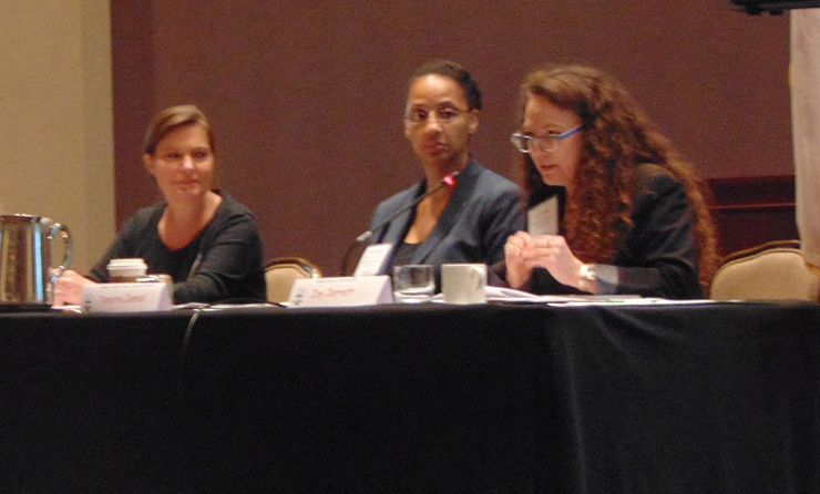 SEARCH staff and Federal officials discuss trends in backgrounding for firearms purchases. Speaking (from right) are Joy L. Jarrett, FBI Criminal Justice Information Services Division; Tanarra James, Bureau of Alcohol, Tobacco, Firearms and Explosives; and Becki Goggins, SEARCH.